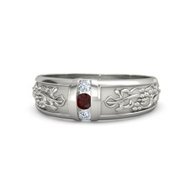 Men's 14K White Gold Ring with Red Garnet & Diamond