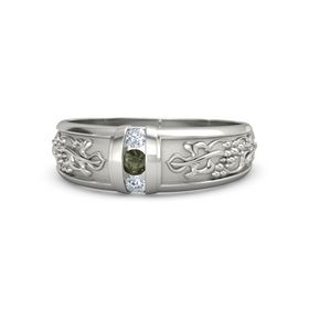Men's 14K White Gold Ring with Green Tourmaline & Diamond
