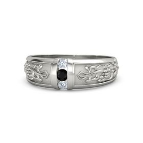 Men's 14K White Gold Ring with Black Onyx & Diamond