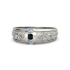 14K White Gold Ring with Black Onyx and Blue Topaz