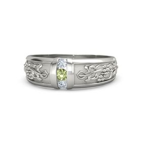 Men's 14K White Gold Ring with Peridot & Diamond