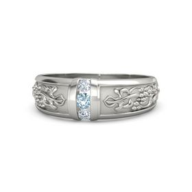Men's 14K White Gold Ring with Aquamarine & Diamond