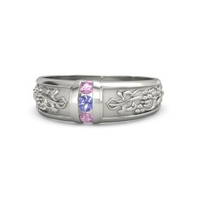 14K White Gold Ring with Iolite and Pink Tourmaline