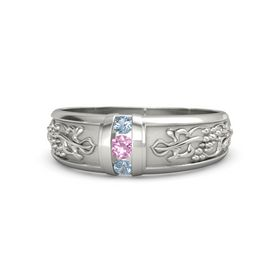 14K White Gold Ring with Pink Tourmaline and Blue Topaz