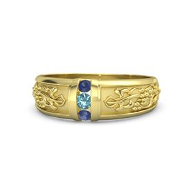 Men's 14K Yellow Gold Ring with London Blue Topaz & Sapphire