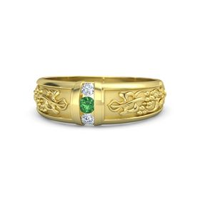 Men's 14K Yellow Gold Ring with Emerald & Diamond