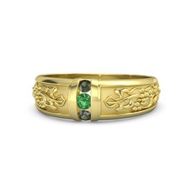 14K Yellow Gold Ring with Emerald and Green Tourmaline