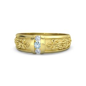 Men's 14K Yellow Gold Ring with Aquamarine & Diamond