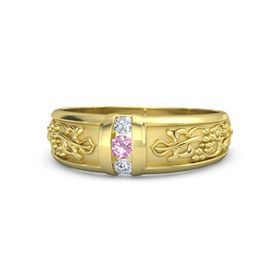 Men's 14K Yellow Gold Ring with Pink Tourmaline & Diamond