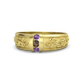 Men's 14K Yellow Gold Ring with Smoky Quartz & Amethyst