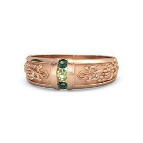 Men's 18K Rose Gold Ring with Peridot & Alexandrite