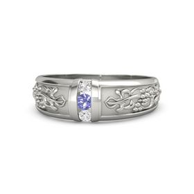 18K White Gold Ring with Iolite and White Sapphire