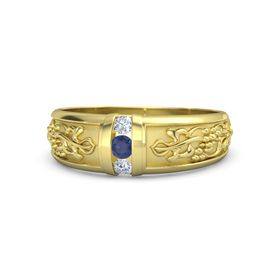 Men's 18K Yellow Gold Ring with Sapphire & Diamond