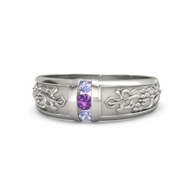 Palladium Ring with Amethyst and Tanzanite