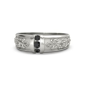 Men's Palladium Ring with Black Diamond