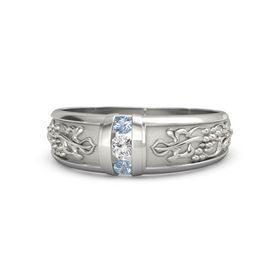Palladium Ring with White Sapphire and Blue Topaz