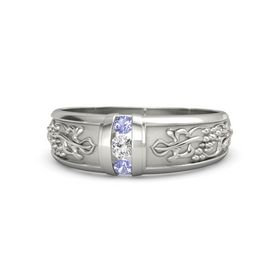 Palladium Ring with White Sapphire and Tanzanite
