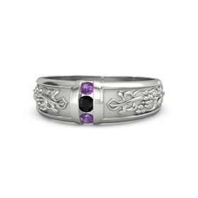 Men's Palladium Ring with Black Onyx & Amethyst