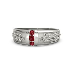 Men's Palladium Ring with Ruby
