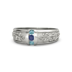 Men's Palladium Ring with Sapphire & London Blue Topaz