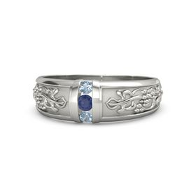 Palladium Ring with Blue Sapphire and Blue Topaz