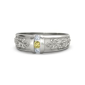 Men's Palladium Ring with Yellow Sapphire & Diamond