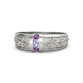 Palladium Ring with Tanzanite and Amethyst