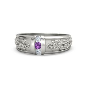 Men's Platinum Ring with Amethyst & Diamond