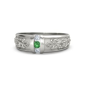 Men's Platinum Ring with Emerald & Diamond