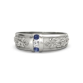 Platinum Ring with White Sapphire and Blue Sapphire