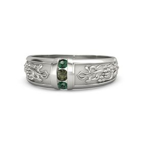 Platinum Ring with Green Tourmaline and Alexandrite