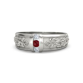 Men's Platinum Ring with Ruby & Diamond