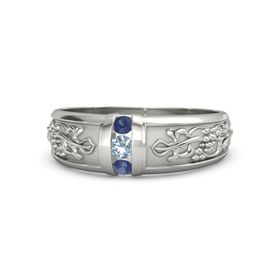 Men's Platinum Ring with Blue Topaz & Sapphire