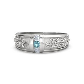 Men's Sterling Silver Ring with London Blue Topaz & Diamond