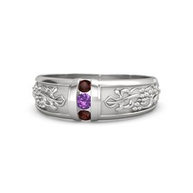 Sterling Silver Ring with Amethyst and Red Garnet