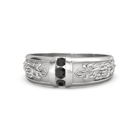 Men's Sterling Silver Ring with Black Diamond