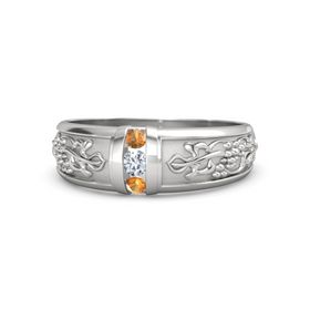 Men's Sterling Silver Ring with Diamond & Citrine