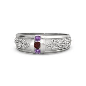 Men's Sterling Silver Ring with Red Garnet & Amethyst