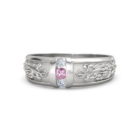 Men's Sterling Silver Ring with Pink Sapphire & Diamond