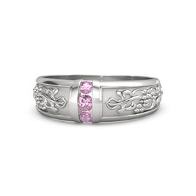 Men's Sterling Silver Ring with Pink Sapphire & Pink Tourmaline