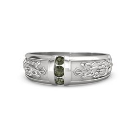 Men's Sterling Silver Ring with Green Tourmaline