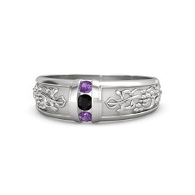 Sterling Silver Ring with Black Onyx and Amethyst