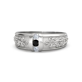 Men's Sterling Silver Ring with Black Onyx & Diamond
