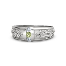 Men's Sterling Silver Ring with Peridot & Diamond