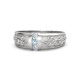 Men's Sterling Silver Ring with Aquamarine & Diamond