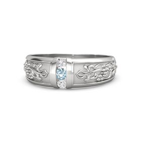 Men's Sterling Silver Ring with Aquamarine & White Sapphire