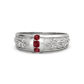 Men's Sterling Silver Ring with Ruby