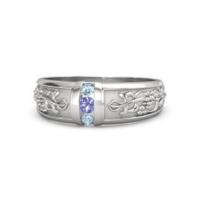 Men's Sterling Silver Ring with Iolite & Aquamarine