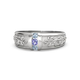 Sterling Silver Ring with Iolite and Blue Topaz