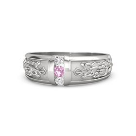 Men's Sterling Silver Ring with Pink Tourmaline & White Sapphire